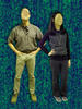 Man and woman with faces scrubbed out against an abstract backdrop.
