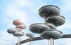futuristic saucer-shaped sky homes