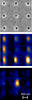 Top: gray background with nine darker gray dots; center: blue and black background with 8 orange/white dots; bottom: blue & black background with one orange/white dot in middle