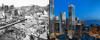 Two photos are seen next to each other. The first shows the devastation following the 1906 earthquake in San Francisco and the second shows a modern-day, hazard-resilient skyscraper in the same city.