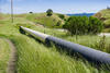 Gas pipeline crossing the hills, south San Francisco bay, San Jose, California