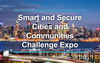 "a cityscape with the words ""smart and secure cities and communities challenge expo"