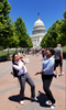 An image of 2019 Summer Undergraduate Research Fellowship (SURF) students Sue Lee and Samantha Gibson infront of the capital building