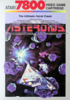 The box cover for Asteroids for the Atari 7800 gaming system
