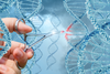A photo illustration of a hand holding forceps editing DNA