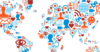 Graphic image of the world created by small icons representing security