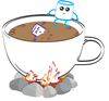 Illustration of a marshmallow perched on edge of cup of coco