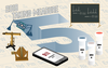 "a graphic with a large 5 surrounded by objects from the post including mysterious museum objects, a blackboard with equations on it, a cellphone, and three vials. Additional text above the 5 reads ""2019 Taking Measure."""