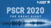 Blue graphic showing a city skyline which transforms into a sound wave. Text overlay reads: PSCR 2020 The Great Pivot.