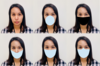 A woman's face appears six times. One time has no mask. The other 5 instances she wears a different digitally applied mask shape. The masks are blue or black and cover some variation of the mouth and nose region.