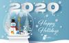 Happy Holidays 2020 with a snowman and bunny in a snow globe with a winter snow scene in background.