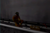 A firefighter on the rails of a subway track