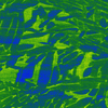 Microscope image shows blue and green jagged shapes