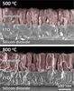 False-color SEMs of cross-sectioned hematite films.