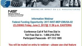 Embedding MEP in Manufacturing USA Institutes Pilot Projects Round 3 Informational Webinar 04-19-17 Thumbnail
