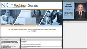 NICE Webinar:  The Role of the School Counselor in Promoting Cybersecurity Career Opportunities